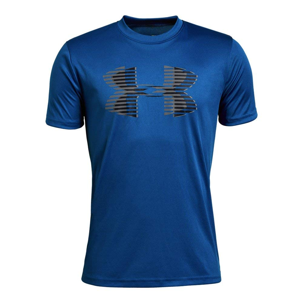 Under Armour boys Tech Big Logo Solid T-Shirt, Royal (400)/Graphite, Youth X-Small