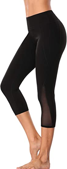 Small, Black-63 Zinmore Womens Capri Yoga Pants Exercise Running Workout Leggings with Pockets