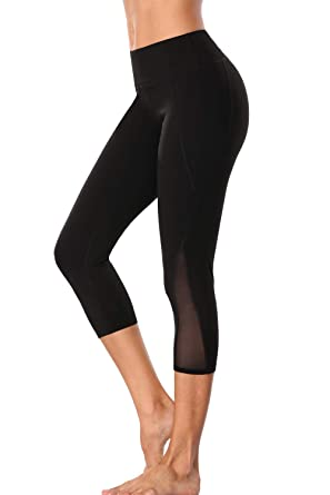 1aeed4cad33a Sociala Mesh Yoga Pants for Women Capri Leggings Tummy Control Workout  Tights S