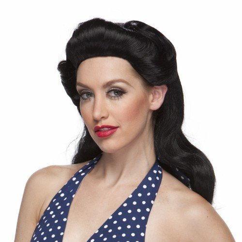 40's Pinup Girl Costume Wig (Black) by ()