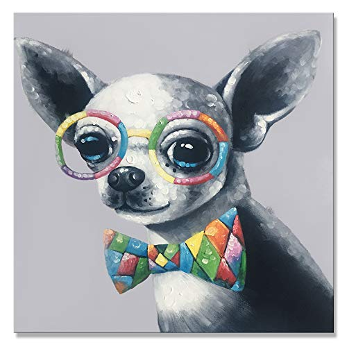 7CANVAS -Hand Painted Dog Canvas Wall Art Oil Painting- Modern Wall Decor Cute Baby Animal Framed Canvas Art Puppy Dog Wall Picture for Living Room Kid Bedroom(Chihuahua, 24x24 ()