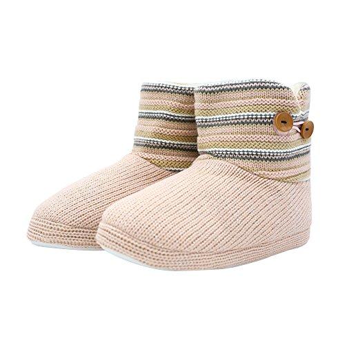 ONCAI Women's Woolen Knit Slipper Boots Floppy Faux Fur Lined Memory Foam Booties Pull on House Shoes Pink