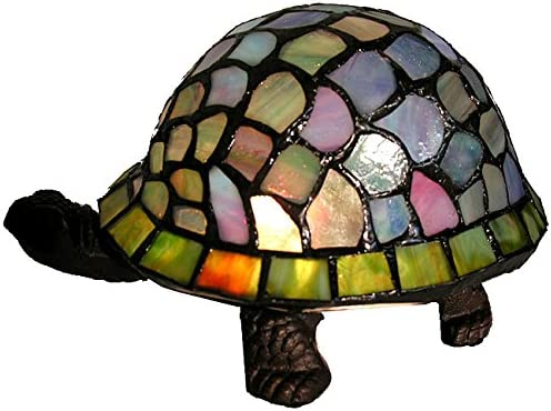 HomeRoots Multi Glass, Metal Tiffany-Style Turtle Accent Lamp