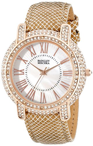 badgley-mischka-womens-ba-1354wmcm-swarovski-crystal-accented-rose-gold-tone-and-khaki-leather-strap