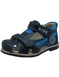 Apakowa Boy's Double Adjustable Strap Closed-toe Sandals (Toddler/Little Kid)