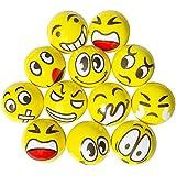 Trooer 12 Pcs Emoji Stress Balls Squishy Squeezable Emoji Bouncy Balls for Kids