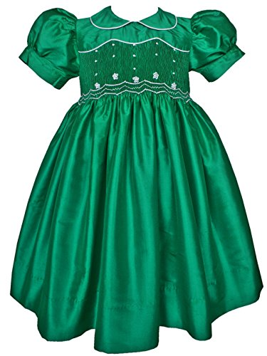 Carouselwear Emerald Green Mardi Gras Flower Girl Silk Smocked Dress ()