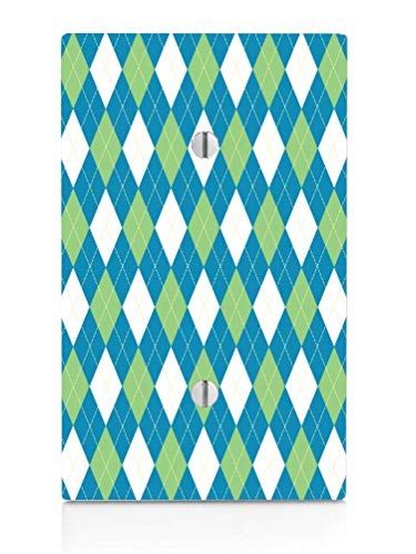 Blue Green And White Argyle Pattern Single Blank Electrical Switch Plate ()