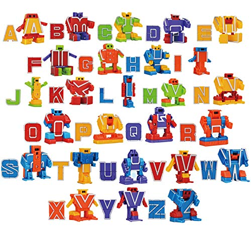 26 Pieces Alphabet Robot Transformer Action Figure Autobots Toys for Kids ABC learning, Birthday Party, School Classroom Rewards, Carnival Prizes, Pre-school Education Toy,Easter Basket Stuffers ()