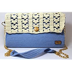 PITZI Bolso 2 en 1, clutch y bandolera hecho a mano, tejido a crochet personalizable