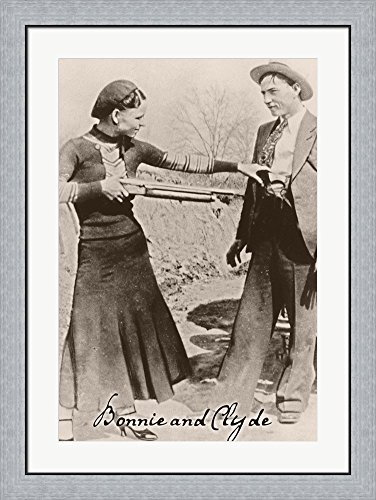 Bonnie And Clyde I by Vintage Apple Collection Framed Art Print Wall Picture, Flat Silver Frame, 27 x 36 inches