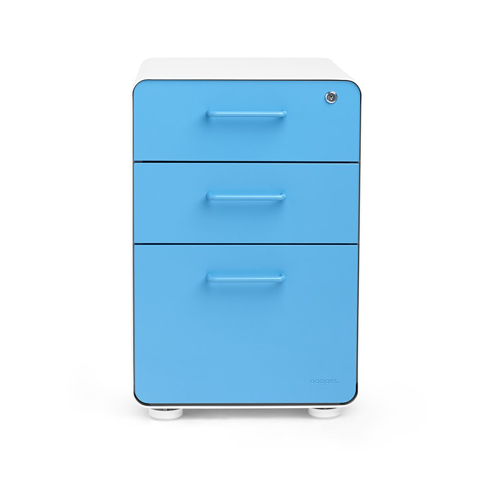 Poppin White + Pool Blue Stow 3-Drawer File Cabinet, Available in 10 Colors, Legal/Letter