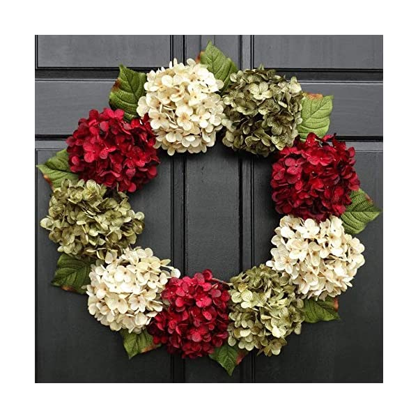 Burgundy Red, Cream and Green Hydrangea Christmas Wreath for Holiday Front Door Decor