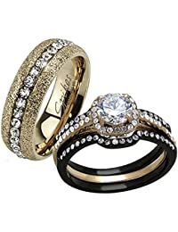 his hers 4 pc black rose gold stainless steel wedding engagement ring band set - Stainless Steel Wedding Ring Sets
