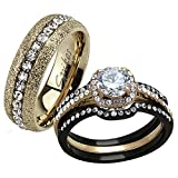 HIS HERS 4 PC BLACK & ROSE GOLD STAINLESS STEEL WEDDING ENGAGEMENT RING Band SET Size Women's 10 Men's 09