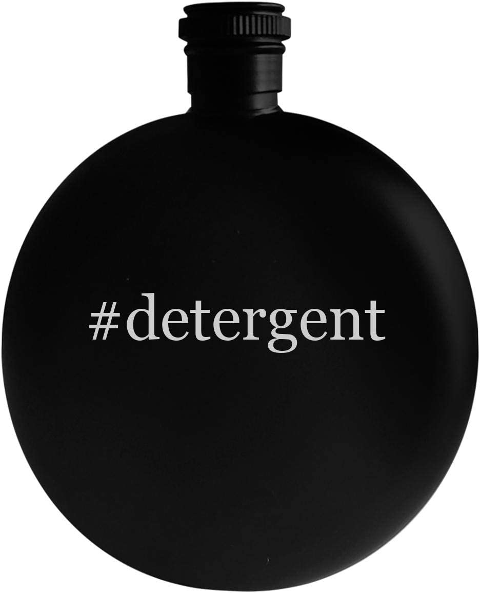 #detergent - 5oz Hashtag Round Alcohol Drinking Flask, Black