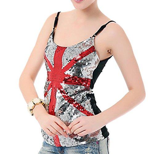 LOCOMO de Estados Unidos UK de Estados Unidos y Patriot con diseño de lentejuelas y la bandera del Reino Unido sin mangas de la bandera de FFK065UK UK