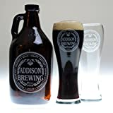 Personalized Engraved Homebrew Growler and 2 Glasses with Brewing with Beer Names Label Design