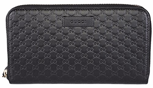 Gucci Women's Leather Micro GG Guccissima Zip Around Wallet (Black) Black Guccissima Leather