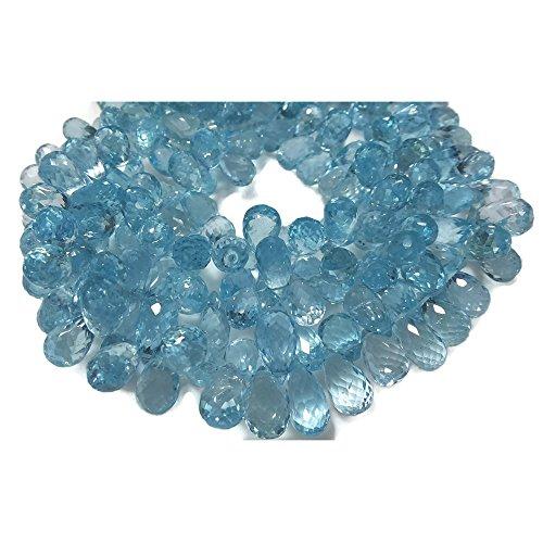 (15 Pieces, Blue Topaz, Tear Drop Beads, Faceted Gemstones, 5x10mm Each,)
