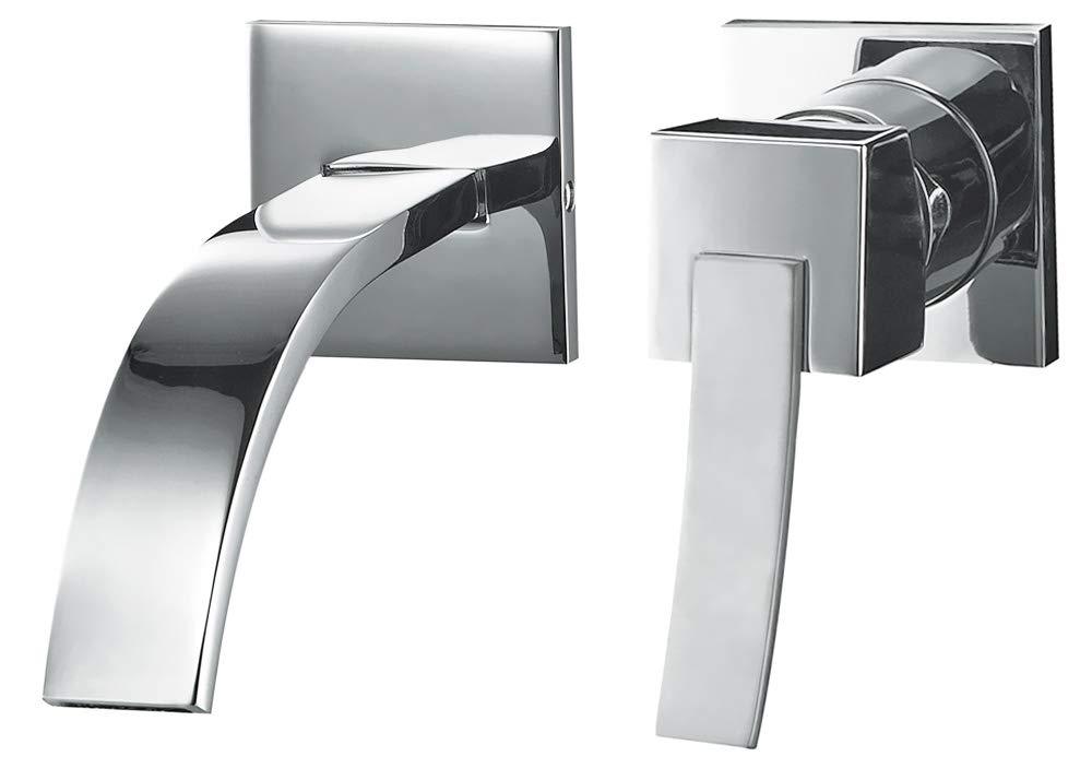 Moderne 2 Trous Encastre Robinet Mitigeur Lavabo Levier Unique Chrome Sanlingo