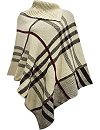 New Womens Check Tartan Printed Stretch Knitted Cape Wrap Shawl Poncho