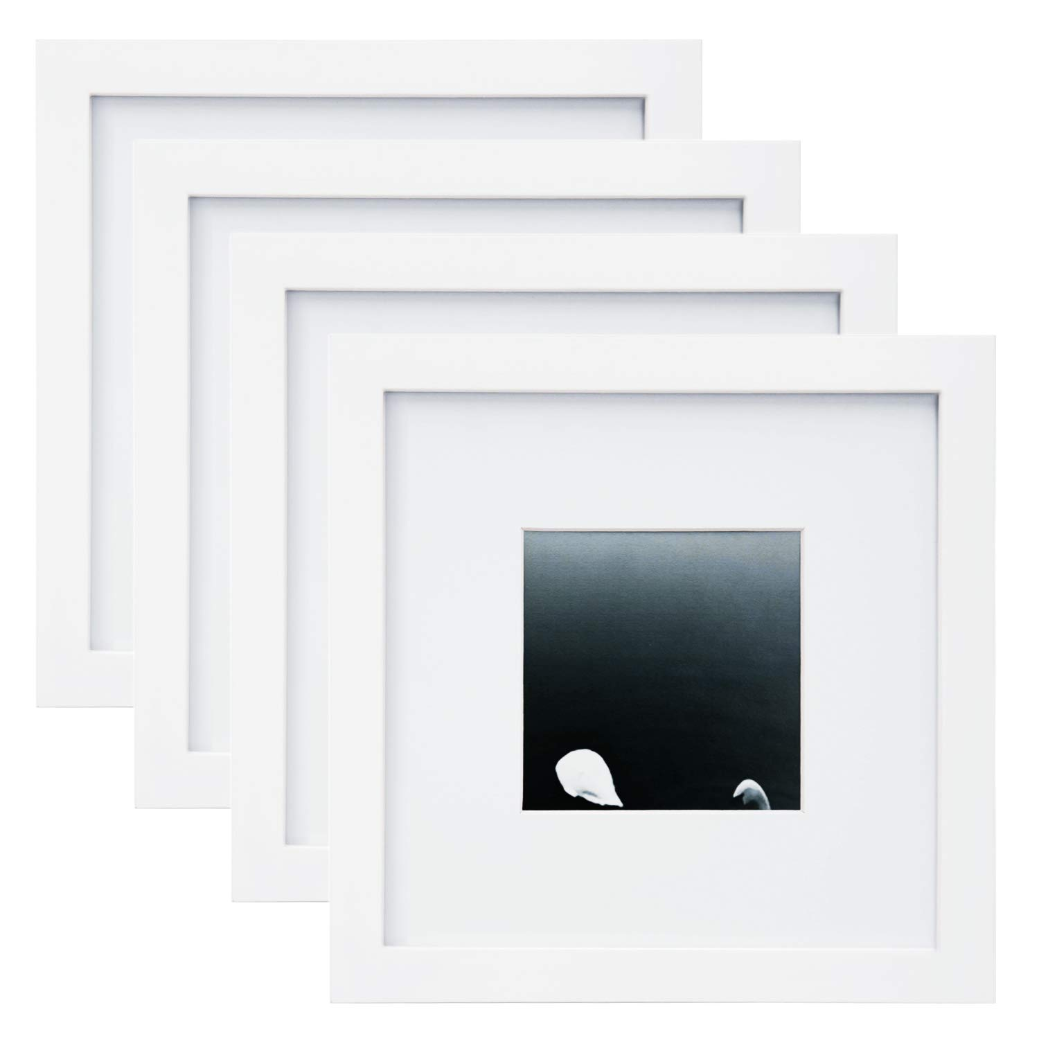 Egofine 8x8 Picture Frames 4 PCS for Pictures 4x4 with Mat Made of Solid Wood for Table Top Display and Wall Mounting Photo Frame White by Egofine