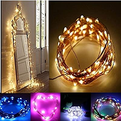 LiPing 3M 30LED Button Cell Powered Silver Copper Wire Mini Fairy String Lights for Christmas, Weddings.