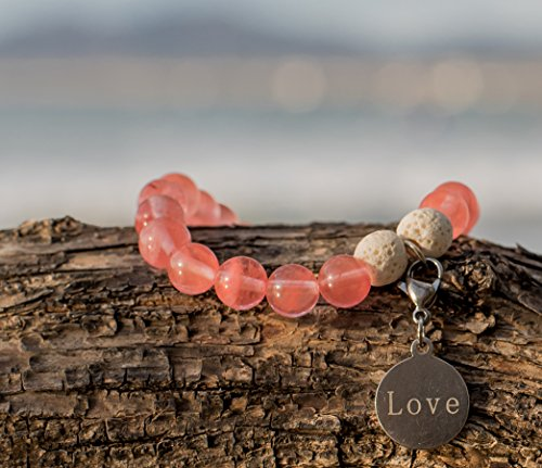 WellBeing Essential Oil Diffuser Bracelet with Lava Rock Real Natural Semi-Precious Stone for Aromatherapy Meditation Chakra Yoga SelfLove made of Cherry Quartz Brings Fulfilling Love Energy Medium