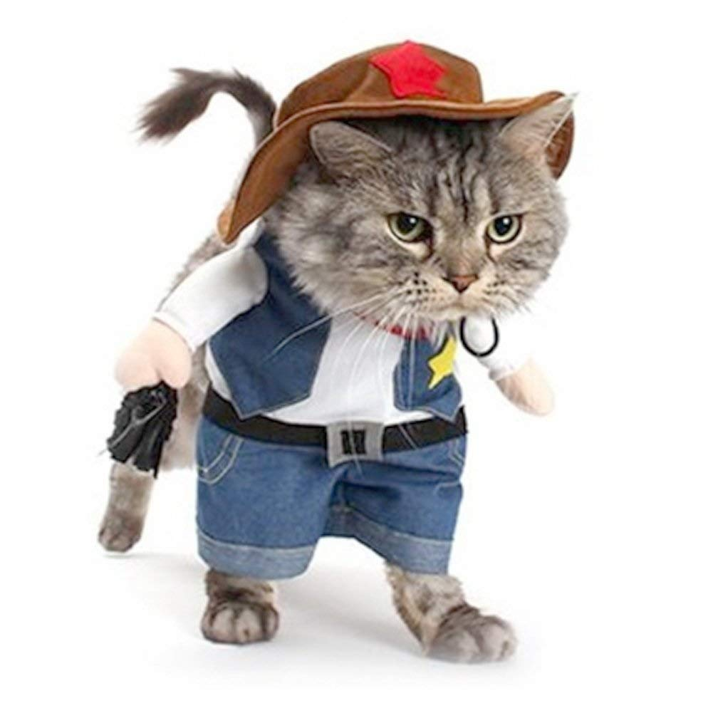 Meihejia Cute Cat Costumes, Funny Halloween Outfit Cat Cowboy Jacket Hat Suit - Fit Neck Girth Up to 12.5 Inches
