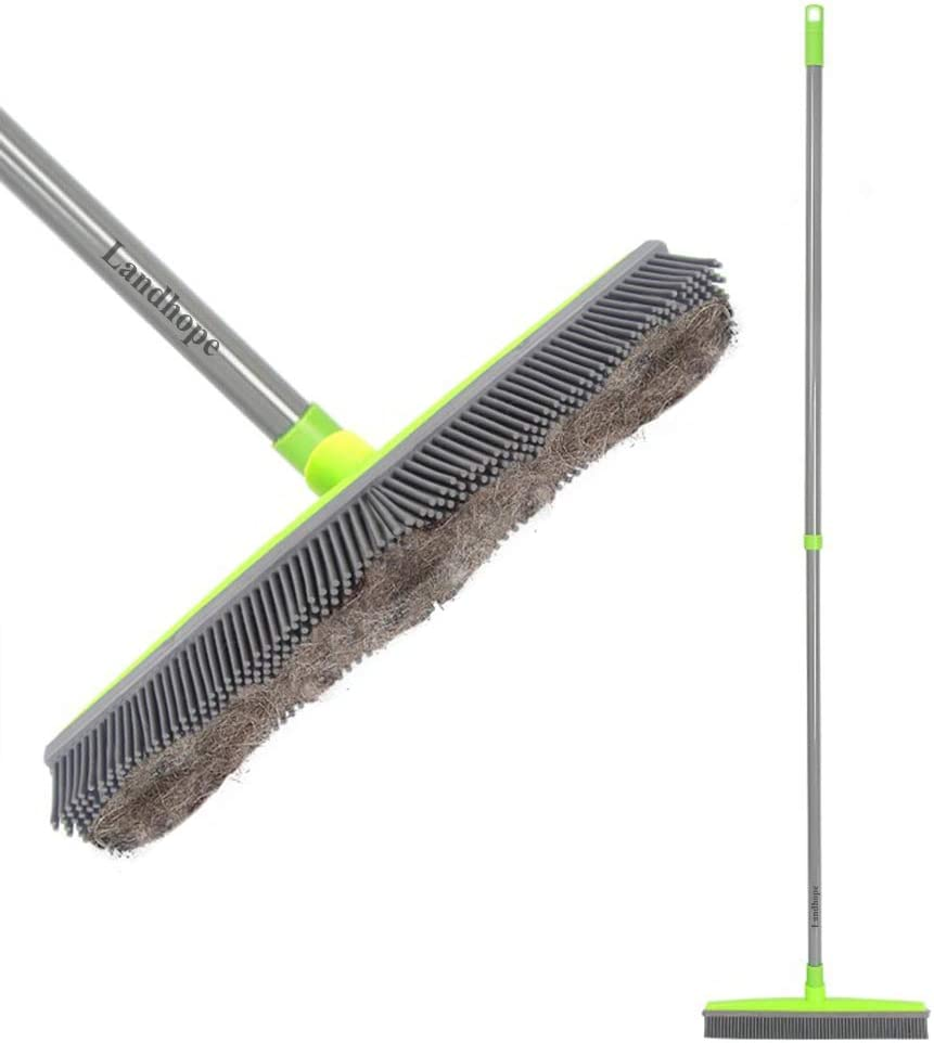 LandHope Push Broom Long Handle Rubber Bristles Sweeper Squeegee Edge 54 inches Non Scratch Bristle Broom for Pet Cat Dog Hair Carpet Hardwood Tile Windows Clean Water Resistant (Telescopic): Home & Kitchen
