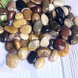 Garden Stones Pebbles Natural Polished River Rock Great for Outdoor or Indoor Decor Vase Fillers Fish Tank Landscaping…