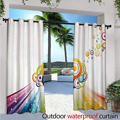 Vintage Rainbow Outdoor Privacy Curtain for Pergola W96 x L84 Colorful Stripes Wave and Bullseye Circles Pattern with Stars Illustration Thermal Insulated Water Repellent Drape for Balcony Multicol (Bullseye Light Plum)