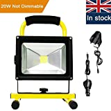 Rechargeable LED Work Light, URPIRE 2000-2200lm 20W Portable Bright Day White Outdoor Flood Light, IP65 Waterproof Camping Traveling Emergency Hand Work Lamp (Adapter and Car Charger Included)