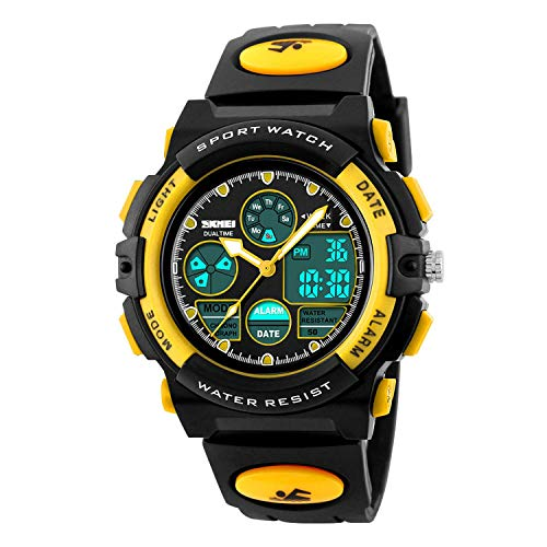 Kids Sport Digital Watch Boys Outdoor Waterproof Watches Girls Electronic Watch with Alarm, Chronograph Calendar Date - Yellow ()