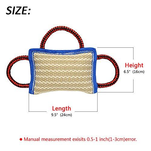 PET-ARTIST-3-Handles-Jute-Bite-Pillow-95-65-Linen-Tug-Toy-for-Young-Dogs