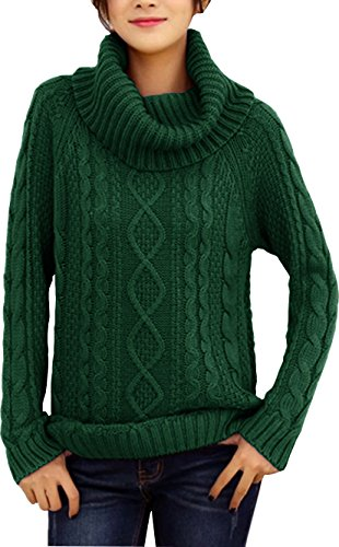 v28 Women's Korean Design Turtle Cowl Neck Ribbed Cable Knit Long Sweater Jumper (Green,M)