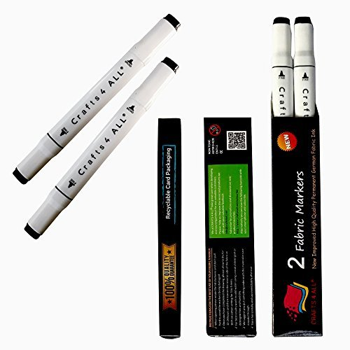 Crafts 4 ALL Permanent Fabric Marker Laundry Marker Non Bleed Dual Tip 2 Pack Black ()