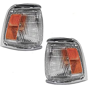 Driver and Passenger Park Signal Corner Marker Lights Lamps with Chrome Trim Replacement for Toyota Pickup Truck 8162035120 8161035120