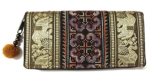 Wallet by WP Embroidery Elephant Flower Zipper Wallet Purse Clutch Bag Handbag Iphone Case Handmade for Women, Brawn (Chanel Ladys Bag)