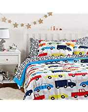 AmazonBasics Easy-Wash Microfiber Kid's Bed-in-a-Bag Bedding Set - Full / Queen, Multi-Color Racing Cars