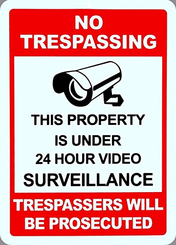 1 Sheet Winch (1-Pc Foremost Popular No Trespassing Yard Signs Anti-Robber Surveillance 1-Side Printed Size 10