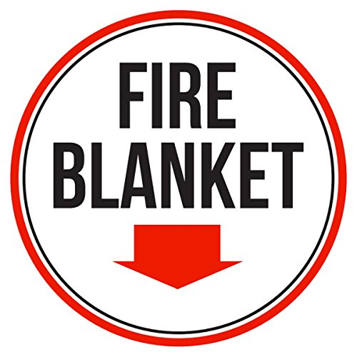 iCandy Products Inc Fire Blanket Red, Black and White Business Commercial Safety Warning Round Sign - 9 Inch, Metal