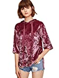 ROMWE Women's Velvet Hoodie Drop Shoulder Half Sleeve Slit Dip Hem High Low Sweatshirt Burgundy M
