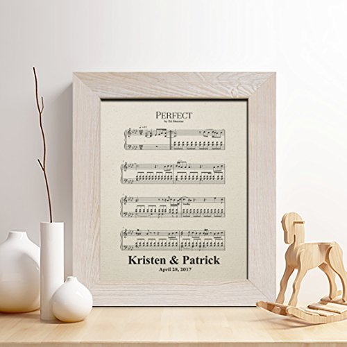 Personalized 2nd Anniversary Gift for Him or Her, Cotton Sheet Music print for men, Gifts for Husband and Wife