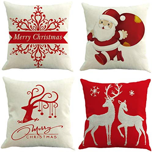 Fitnestyle Throw Pillow Covers Set of 4, Chritmas