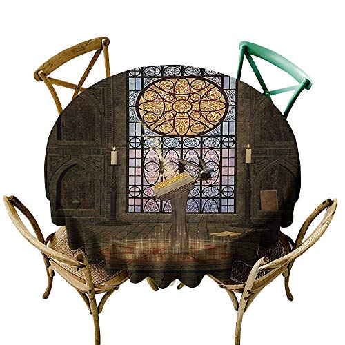 funkky Flow Spillproof Fabric Tablecloth Gothic Lectern on Pentagram Symbol Medieval Architecture Candlelight in Dark Altar for Kitchen Dinning Tabletop Decoration D60