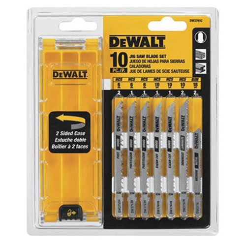 DEWALT DW3741C 10-Piece T-Shank Jig Saw Blade Set w/Case