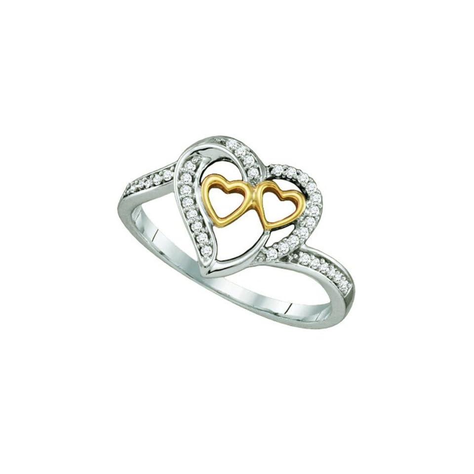 0.12 Carat (ctw) 10K White & Yellow Gold White Diamond Ladies Two Tone Three Hearts Promise Ring