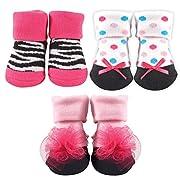 Luvable Friends 3-Pack Little Shoe Socks Gift Set, Zebra, 0-9 Months